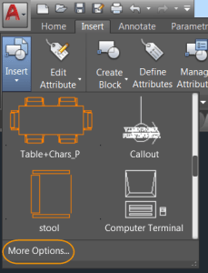 AutoCAD 2017 - Accessing the Insert dialog box