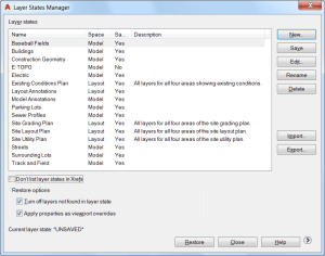 AutoCAD 2017 - Layer States Manager.