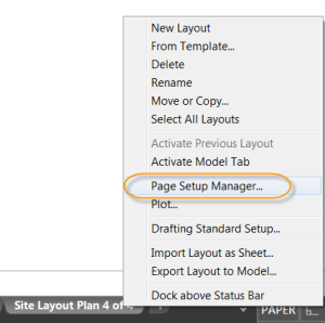 AutoCAD 2017 - Accessing the Page Setup Manager.