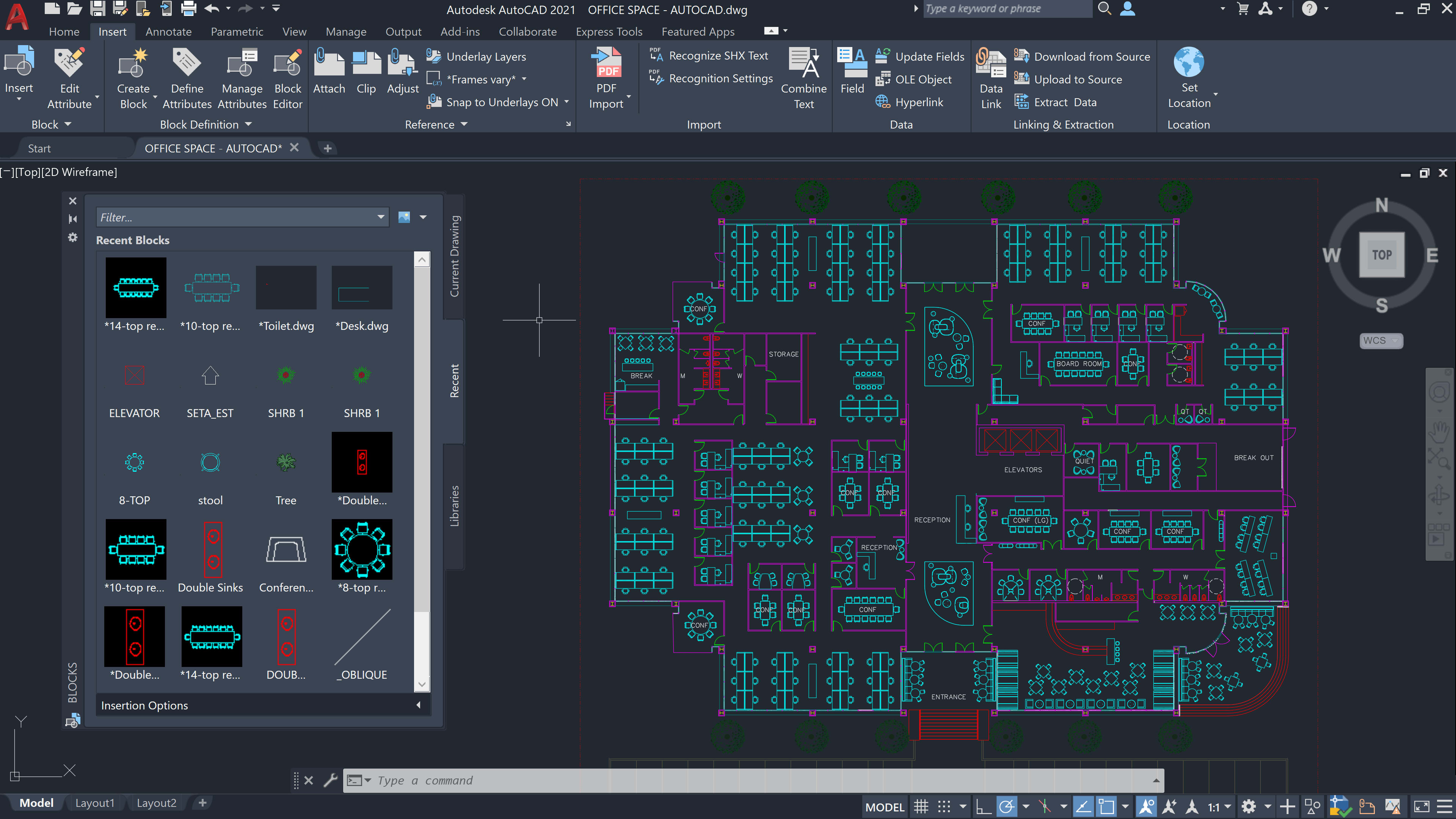 AutoCAD 2021 Blocks Palette
