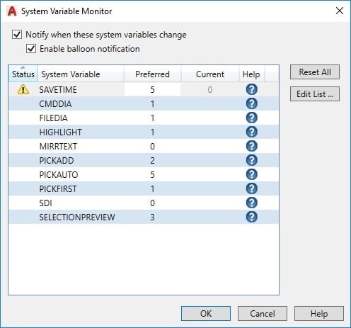 System Variables in AutoCAD
