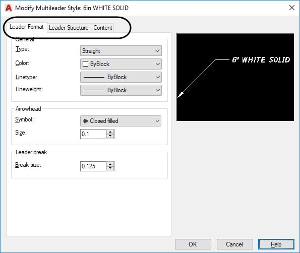 Multileader Style Manager AutoCAD tabs