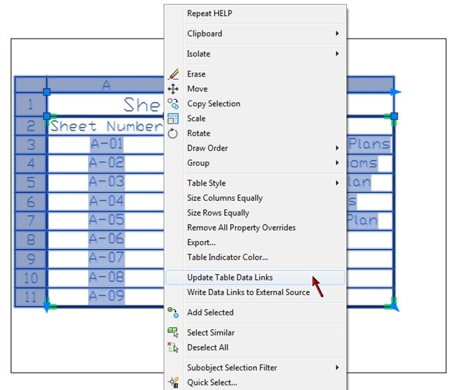Update Sheet List Table AutoCAD