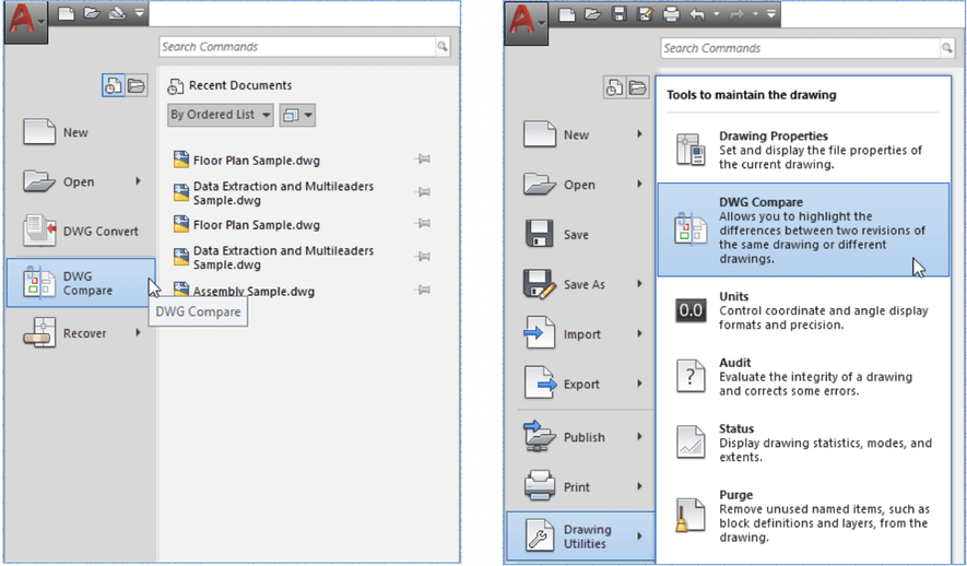 AutoCAD DWG Compare: Application Menu and Drawing Utilities