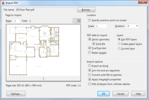 Import PDF dialog box options available. AutoCAD 2017 PDF Import.