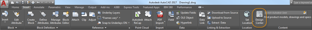 AutoCAD DesignCenter tab on ribbon. Tuesday Tips with Heidi.