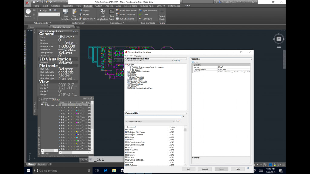What's New in AutoCAD 2018 Technology and Performance: High Res Monitor Before