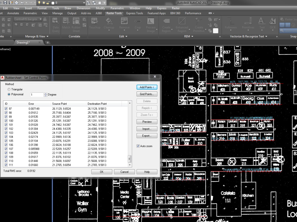 AutoCAD Raster Design from PDF Scan: Rubber Sheet