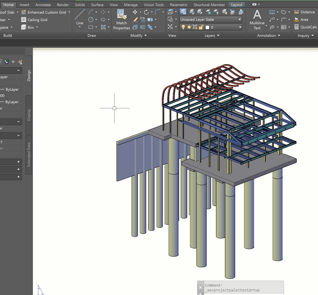 Pile and Steel Rendering AutoCAD Architecture Toolset