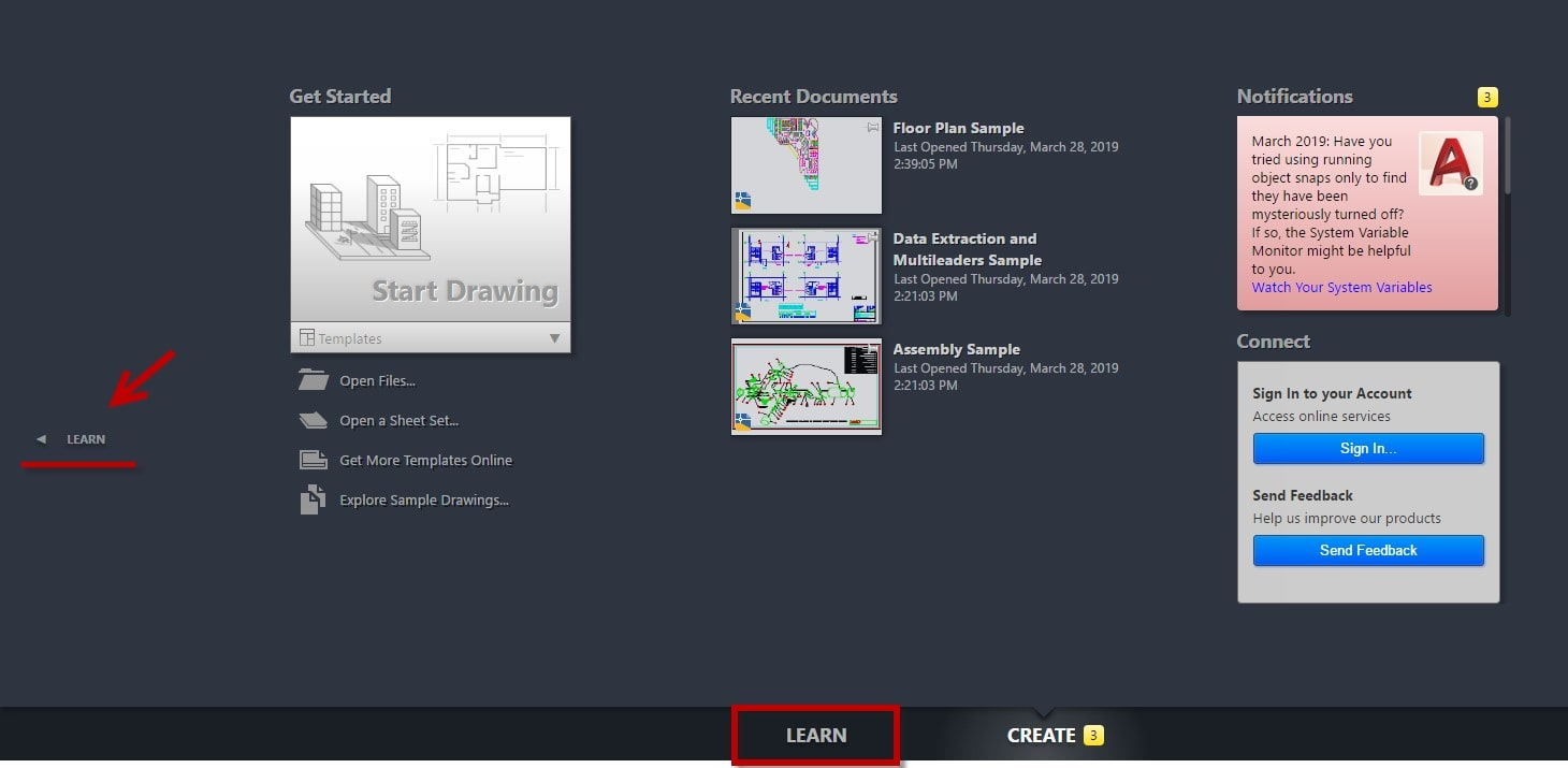 Learn page in AutoCAD
