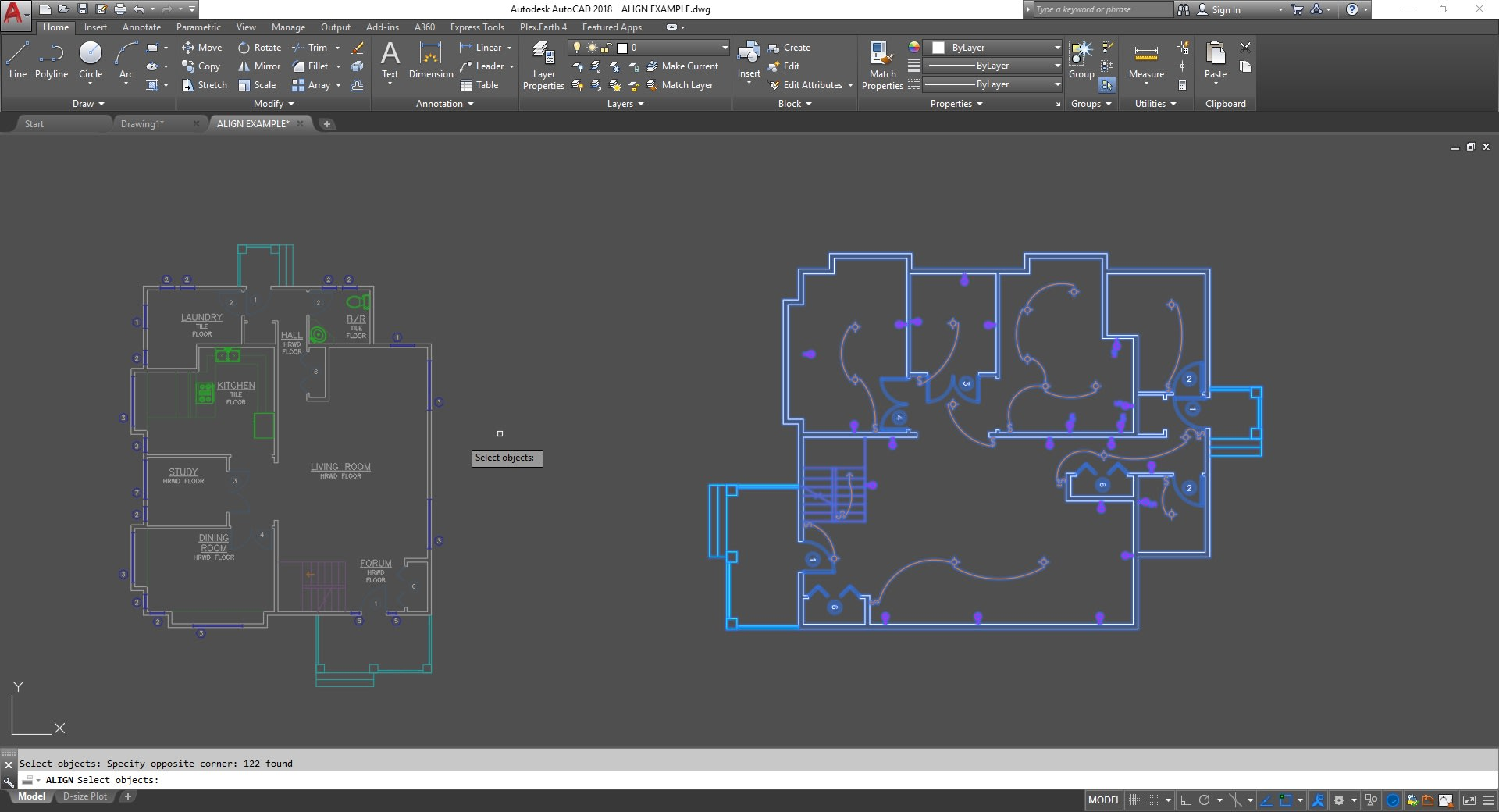 Select objects ALIGN command AutoCAD