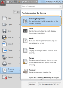 AutoCAD 2017 - Accessing the Drawing Properties dialog box.