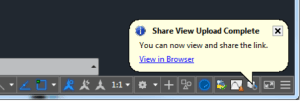 AutoCAD 2019 Shared Views: Upload Complete Notification