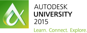 Autodesk University 2015 AutoCAD and LT recorded classes online. Logo and tagline.