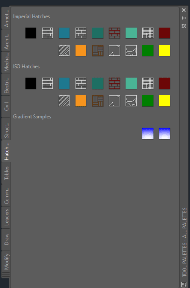 AutoCAD Tool Palettes: Hatching Tool Palette
