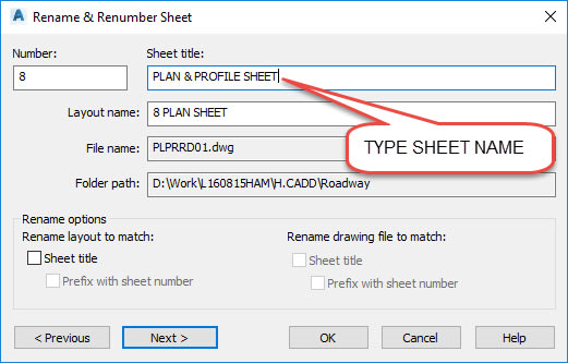 Plan and Profile Sheet AutoCAD
