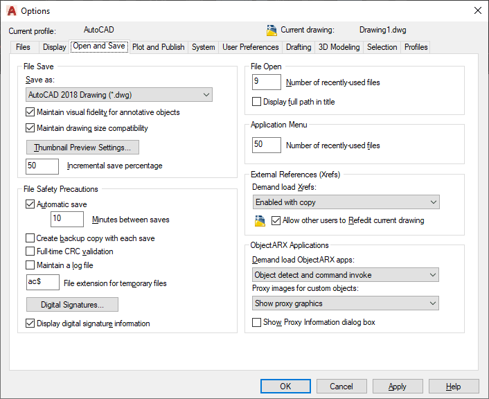 open and save tab AutoCAD
