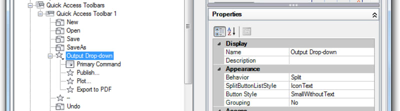 Basic AutoCAD Customization Quick Access Toolbar: The Properties pane contains properties that are used to control the appearance and behavior of a drop-down menu