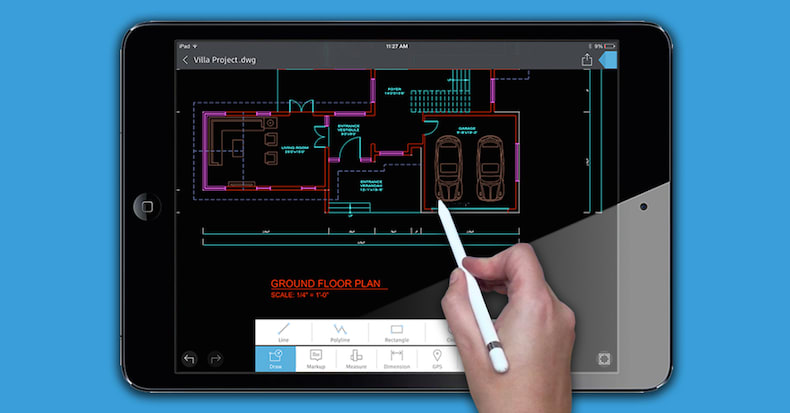 AutoCAD 360 Pro DWG drawing as displayed on the iPad Pro.