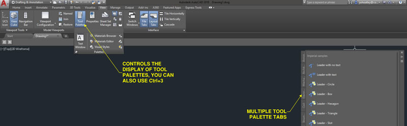 AutoCAD Tool Palettes: Workspace Overview