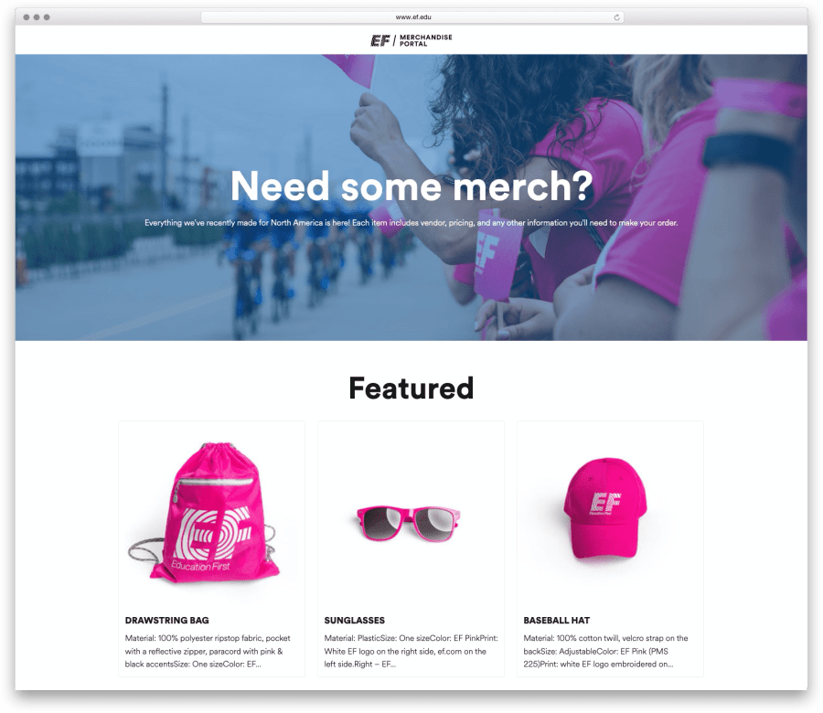 Screenshot of EF Education First Merch Portal