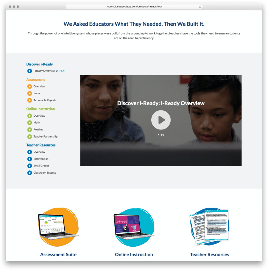 Screenshot of Curriculum Associates iReady Video Player