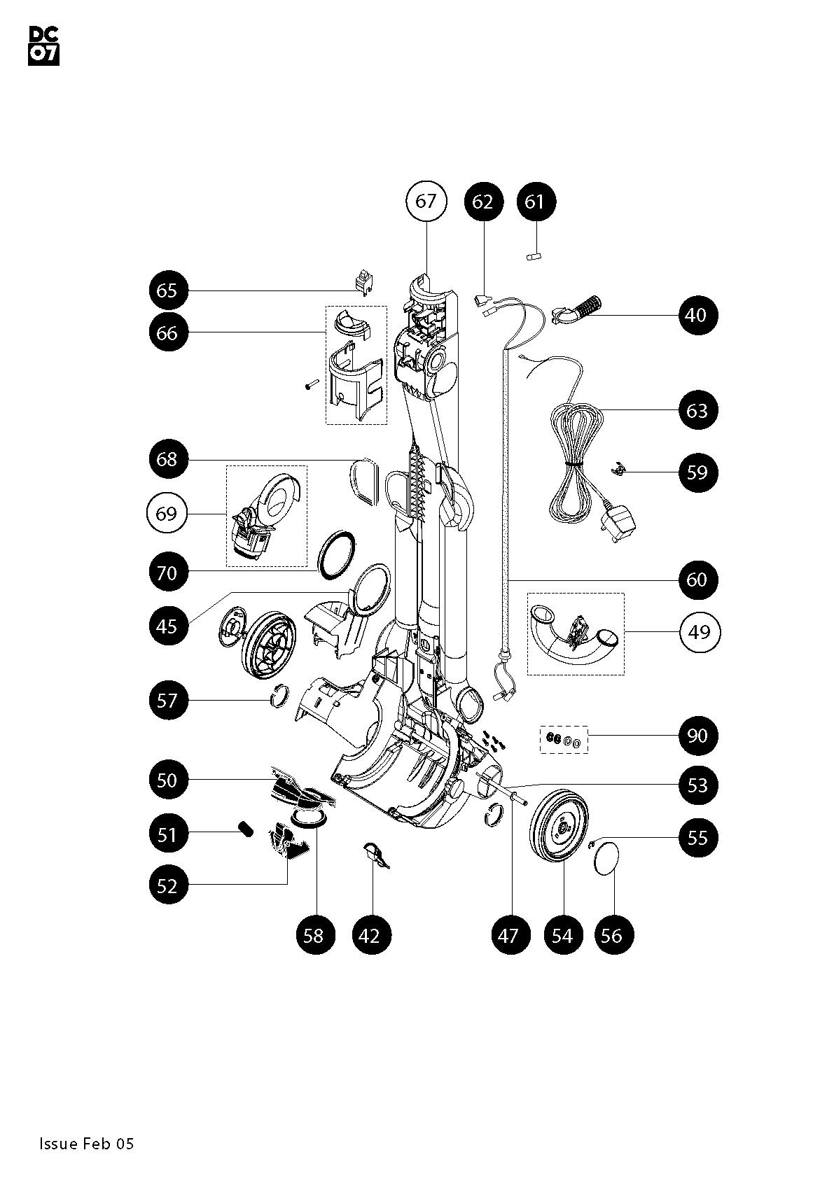 Dyson DC07 Animal (Steel/Lavender) Vacuum Cleaner (Floorcare) Parts |  Partmaster