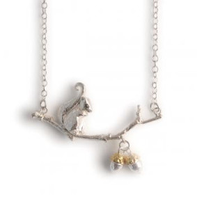 Squirrel and acorn necklace