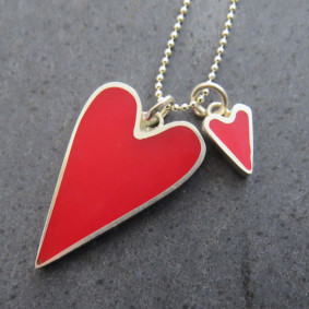 Red enamel heart.