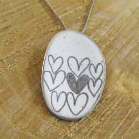 curved enamel heart pendant
