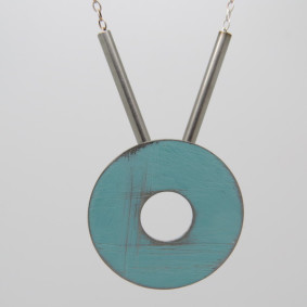 light blue washer necklace
