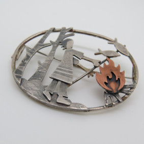 fish on the fire brooch