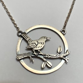 Blackbird scene necklace
