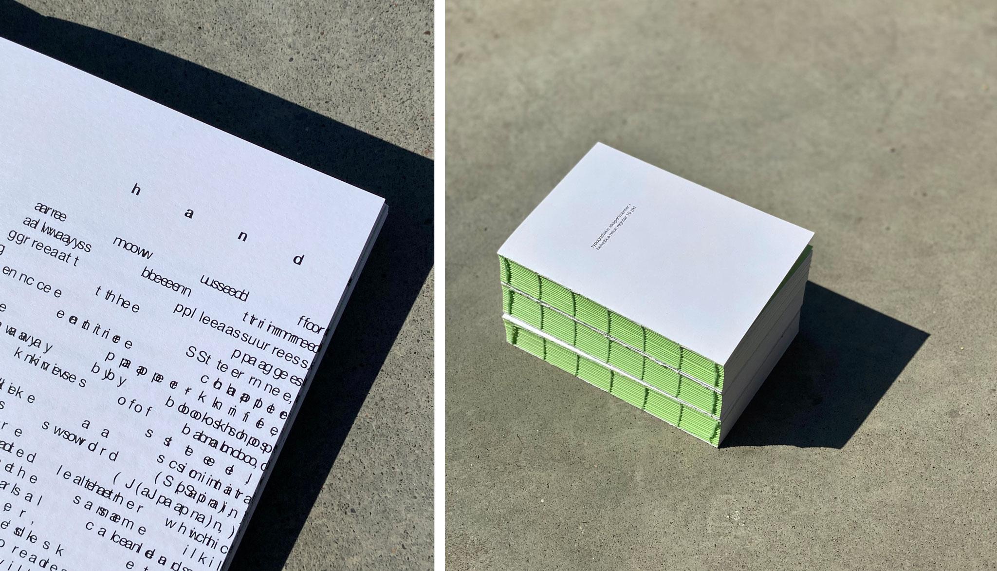 Westerdals institutt for kreativitet, fortelling og design - typografiske prosjekter i helvetica neue regular 10 pkt
