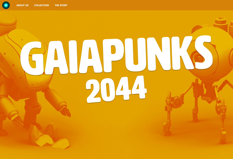 Westerdals institutt for kreativitet, fortelling og design - Gaiapunks 2044 - en Visuell Identitet og Konsept til en Digital Kryptokunst-Samleserie (NFT), på Kryptokunst-markedsplassen Rarible.com