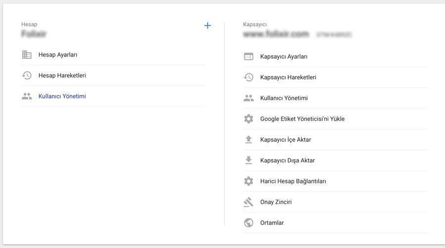 Google tag manager kapsayıcı yönetimi