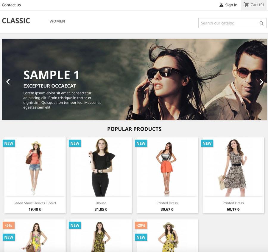 Prestashop sample website