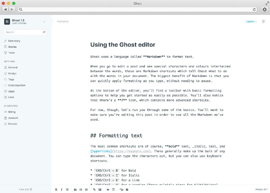 Ghost Blog Editörü