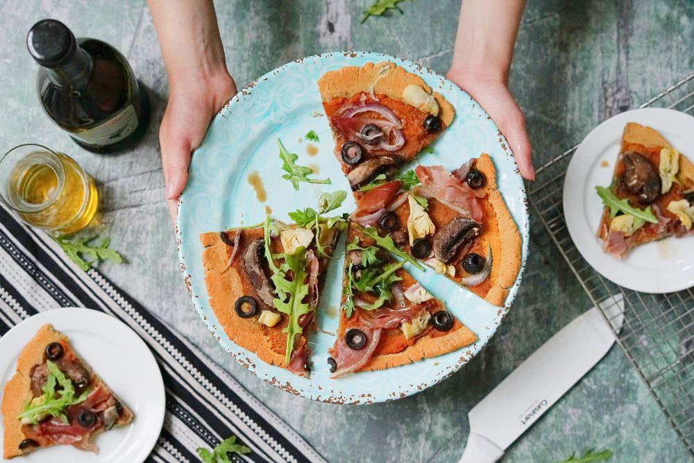 AIP Mediterranean Flatbread Pizza (Paleo, Vegan Option)