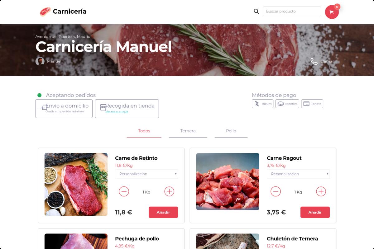 Tienda online de Carnicería