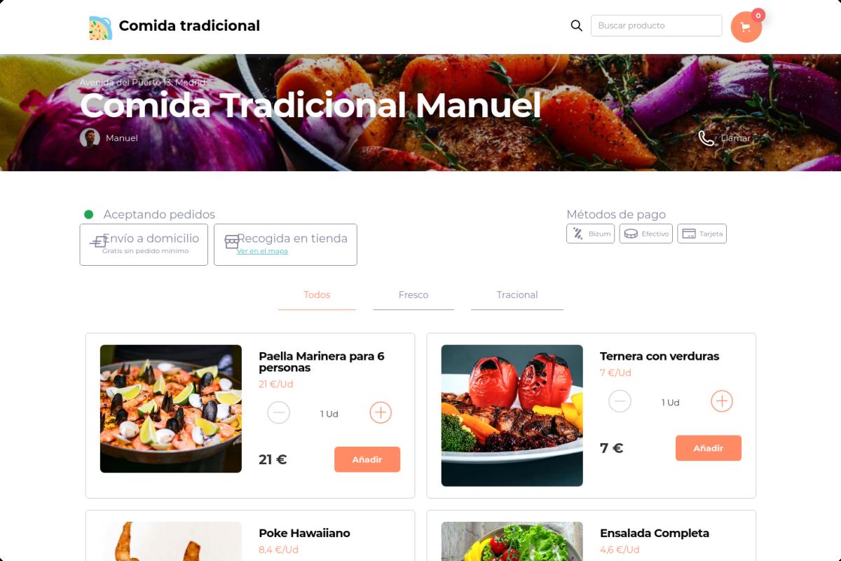 Tienda online de Comida tradicional