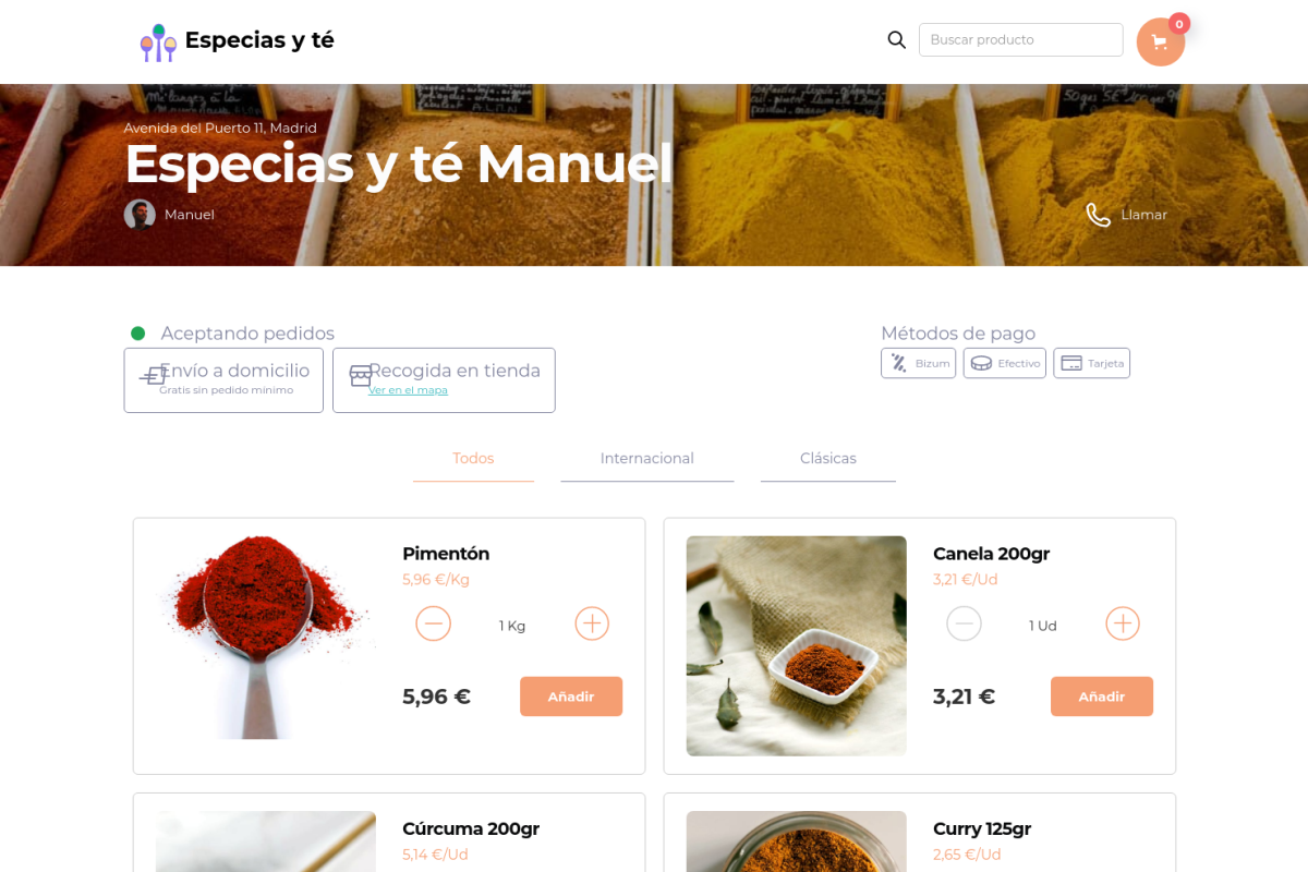 Tienda online de Especias y té