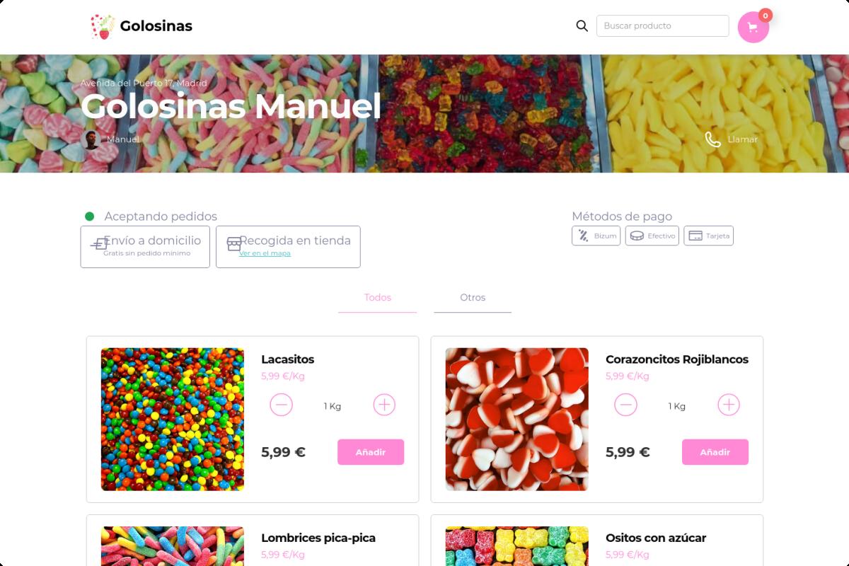 Tienda online de Golosinas