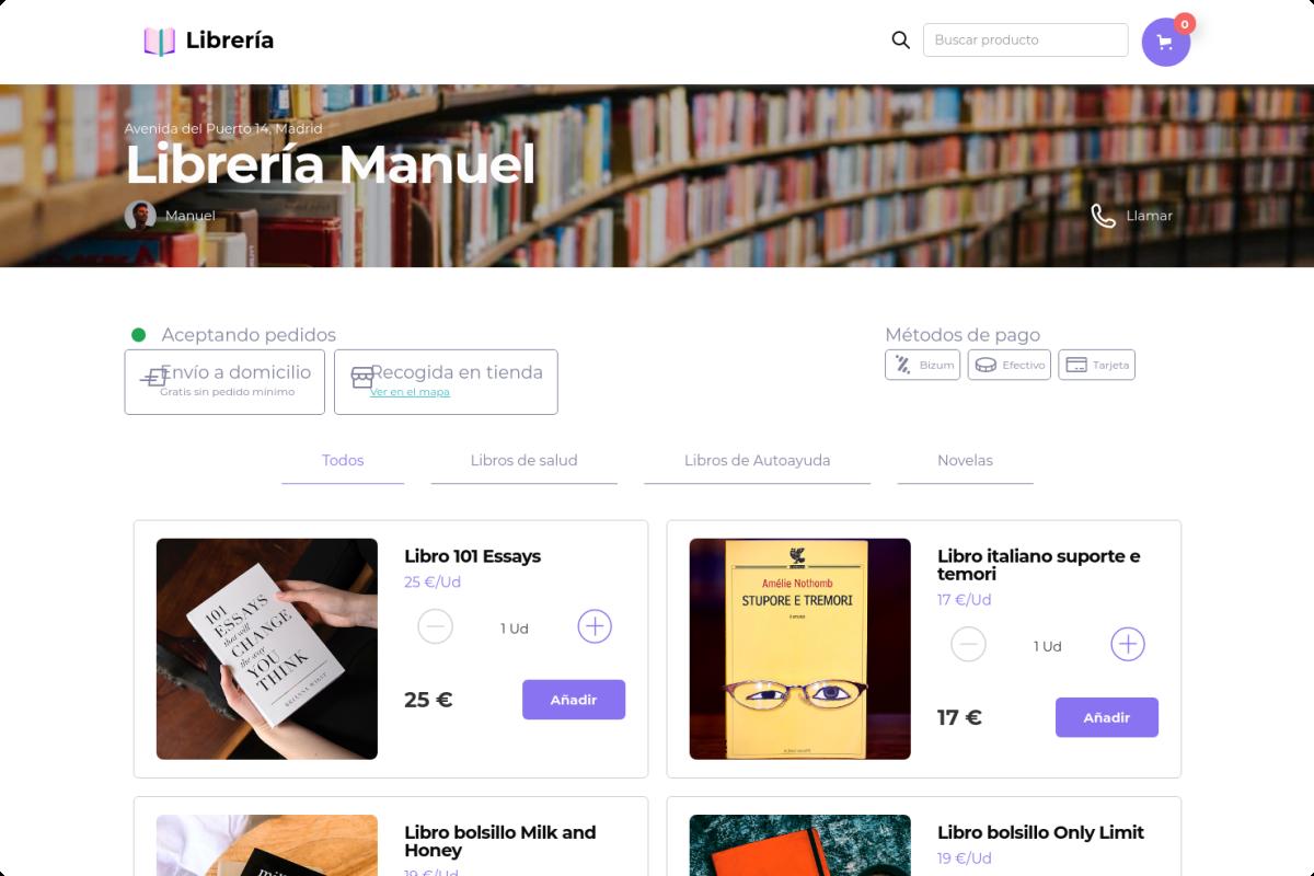 Tienda online de Librería