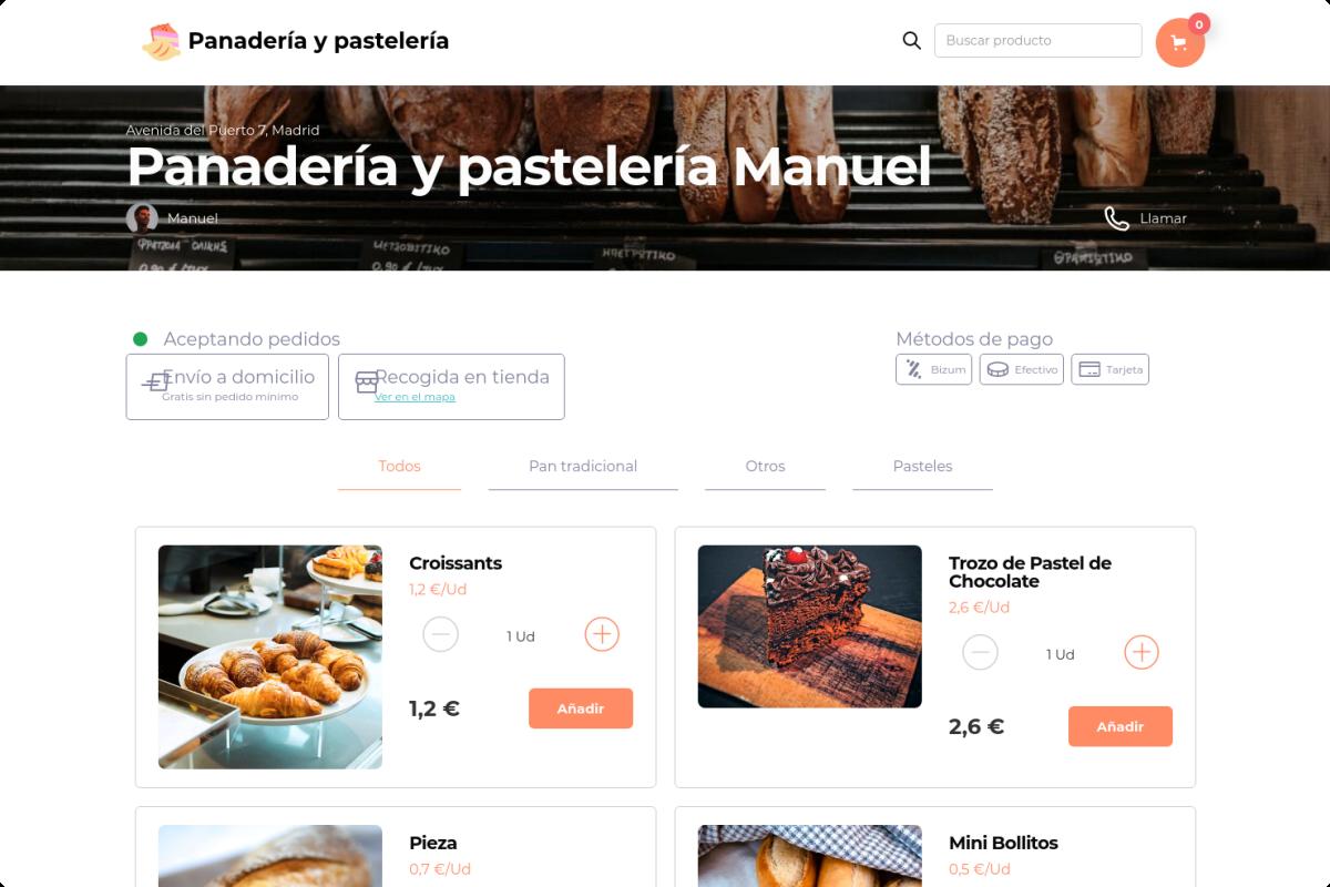 Tienda online de Panadería y pastelería