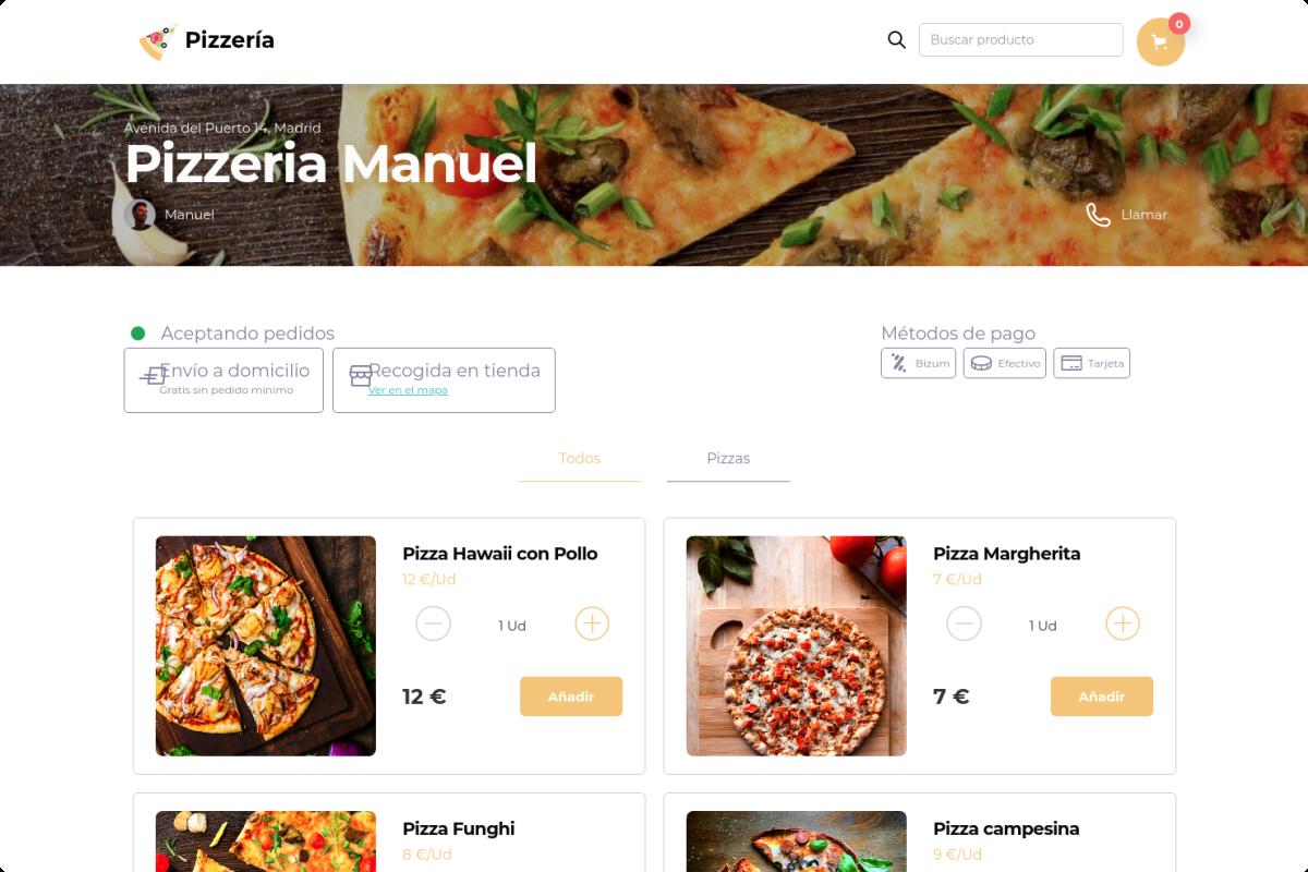 Tienda online de Pizzería