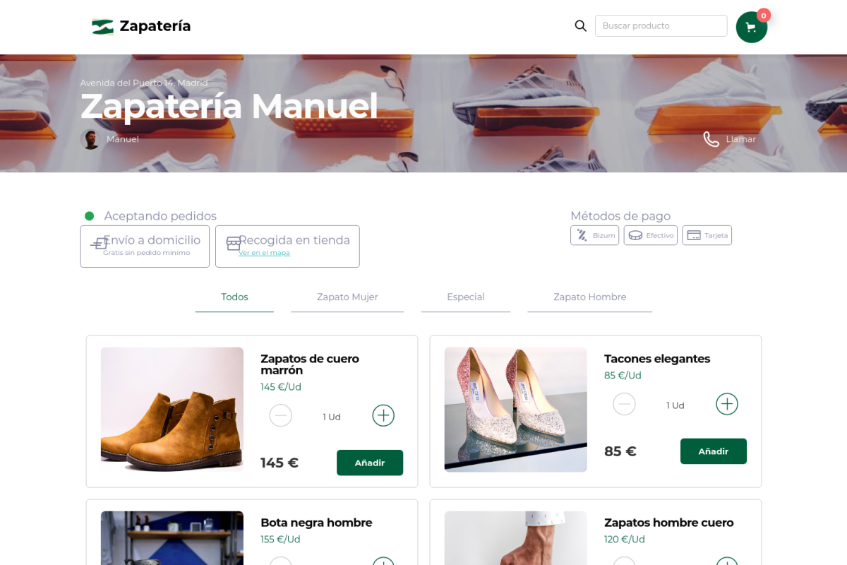 Tienda online de Zapatería