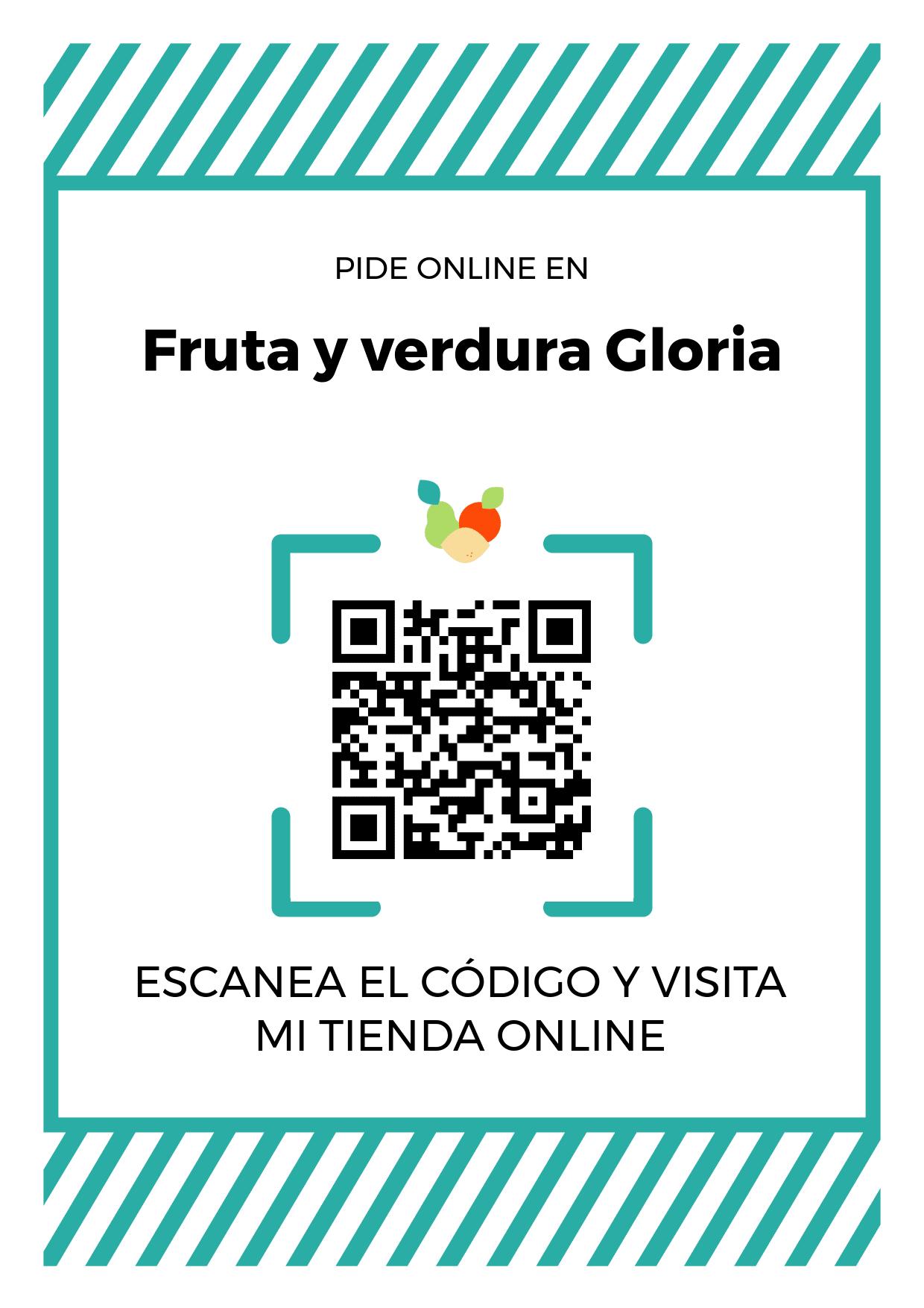Cartel Póster de Código QR para tienda de Fruta y verdura