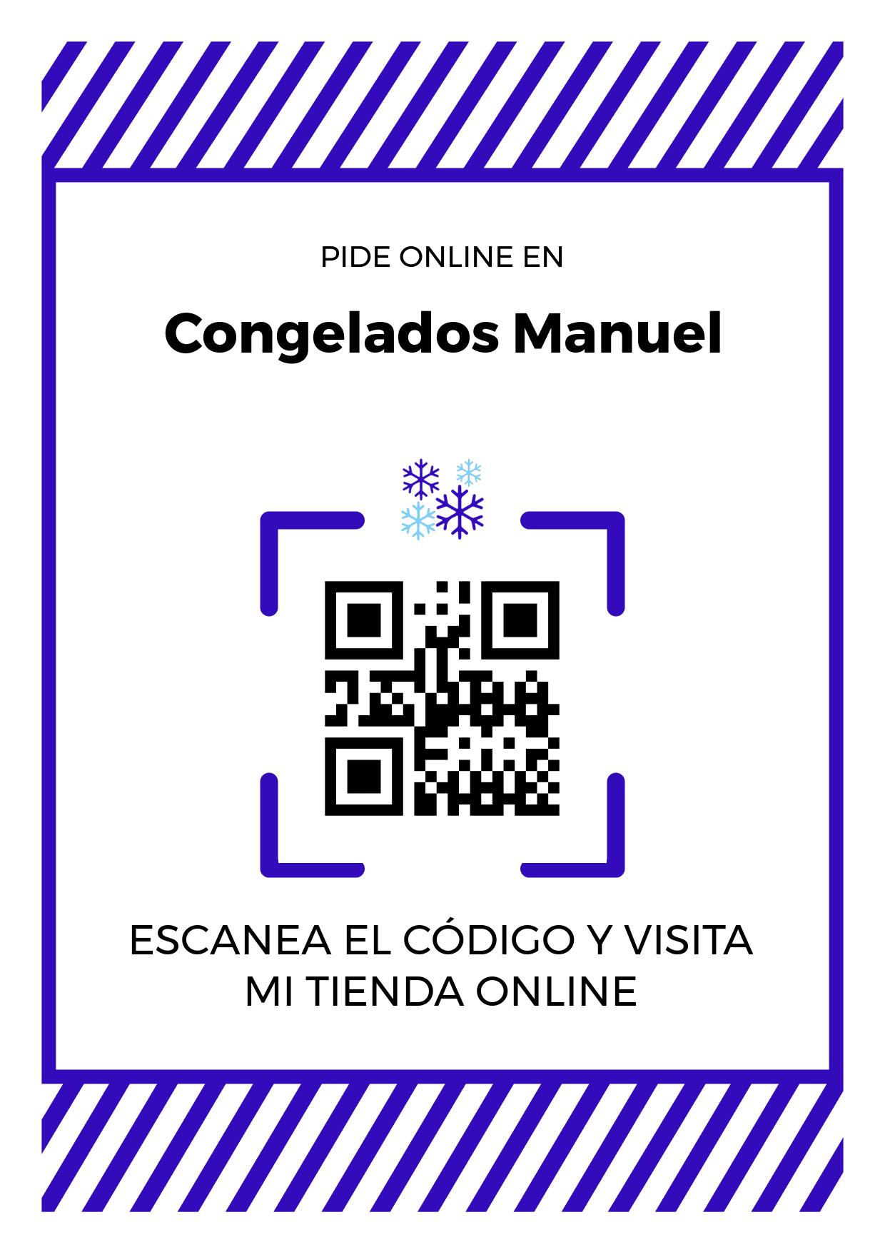 Cartel Póster de Código QR para tienda de Congelados