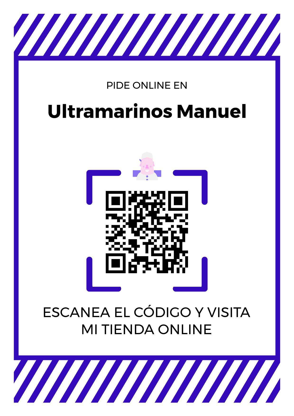 Cartel Póster de Código QR para tienda de Ultramarinos